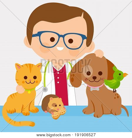 Vector illustration of a male veterinary physician and pets: a cat, dog, a hamster and a bird.