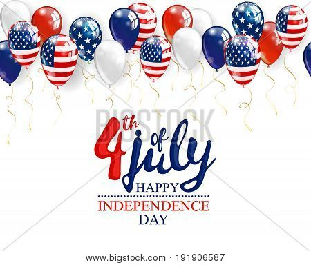 4th of July - Independence day celebration background with party balloons