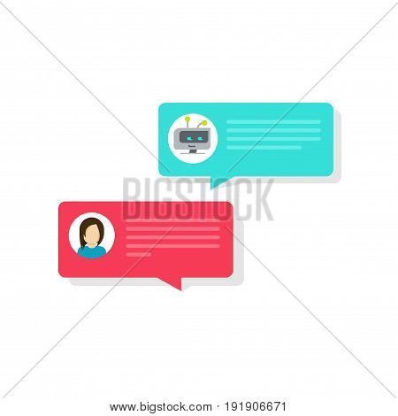 Chatbot and chat bubble icons vector illustration, flat style bot and person messaging bubbles, idea of internet automatic dialog with computer intelligence, future communication, conversation, talk