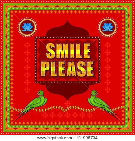 Vector design of Smile Please background in Indian Truck Art style