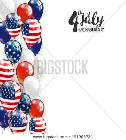 Patriotic border of multicolored balloons. 4 July Independence Day background with place for text. Vector realistic balloons