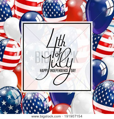 Happy independence day of USA. 4 Fourth of July celebration banner, greeting card design with balloons