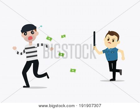 Police man running chasing thief escaping with stolen money vector illustration