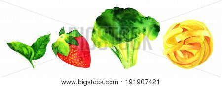Set of isolated watercolour vegan food themed drawings. Leaves of mint, strawberry, broccoli sprout, and pappardelle pasta nest, hand painted on white background, design elements for vegetarian menu