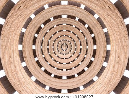 Abstract background of symmetrical shape made of wooden slats