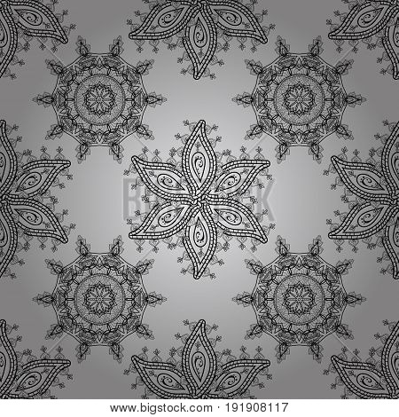 Ornamental floral elements with henna tattoo dimen stickers mehndi and yoga design cards and prints. Pattern on gray background. Vector dim mehndi seamless pattern.