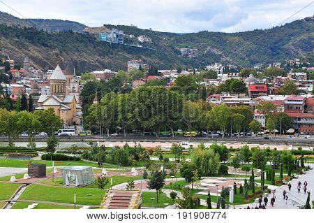TBILISI GEORGIA - SEPTEMBER 28: View of the city centre of Tbilisi on September 28 2016. Tbilisi is a capital and largest city of Georgia.