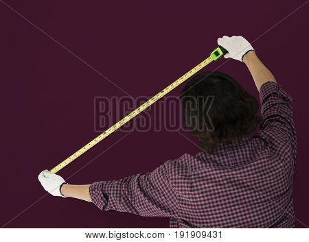 Man Using Tape Rule Measure Studio