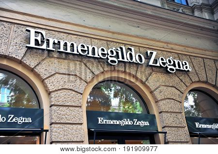 BUDAPEST HUNGARY - JUNE 4: Facade of Ermenegildo Zegna flagship store in the street of Budapest on June 4 2016.