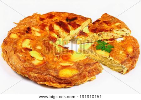 Layered Omelet With Eggs, Potatoes And Onion