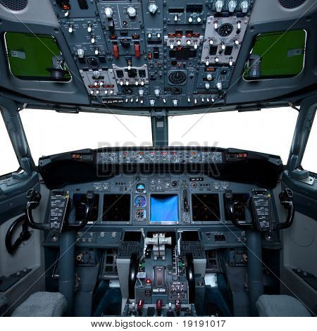 Boeing interior, cockpit view inside the airliner, isolated windows