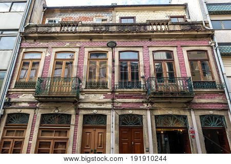 Porto Portugal - December 8 2016: Front facade of residential building in Porto