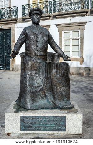 Porto Portugal - December 8 2016: Monument of general Humberto Delgado in Porto