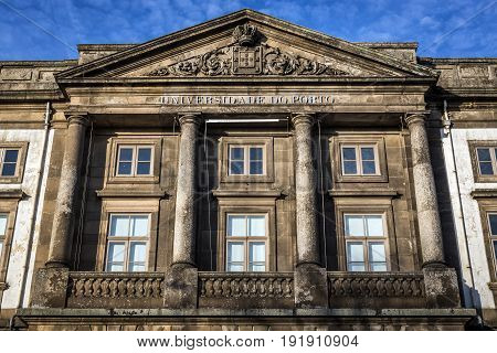 Porto Portugal - December 8 2016: Main building of University in Porto city