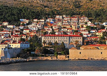 Houses of Dubrovnik city on the hill Croatia
