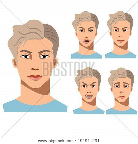 Young man face different emotions. set of cartoon vector illustrations isolated on white background.