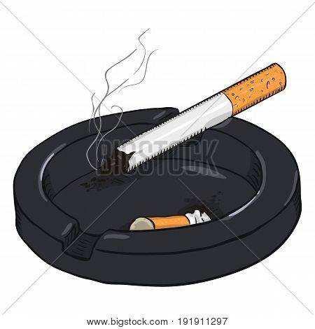Vector Cartoon Ashtray With A Smoking Cigarette And A Cigarette Butt