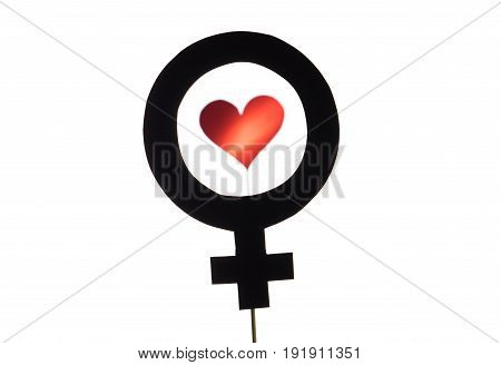 Black female and woman symbol with red heart and love icon. Feminism, homosexuality or lesbian concept. Silhouette from sign cut from cardboard paper and wooden stick isolated on white background.