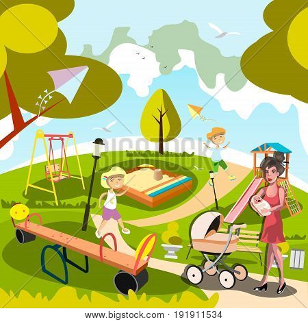 Cartoon mom with kids in the city park. Vector illustration in flat style.