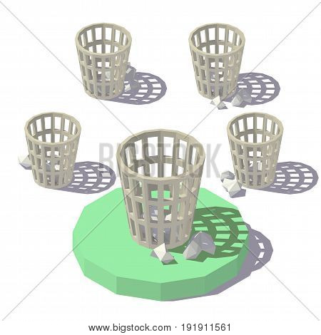 Vector isometric low poly Wastepaper Basket. Vector flat illustration
