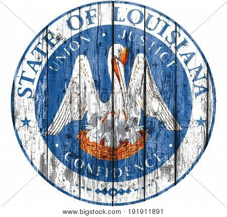 Flag of Seal Louisiana painted on wooden frame