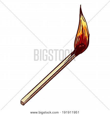 Vector Single Cartoon Burning Matchstick