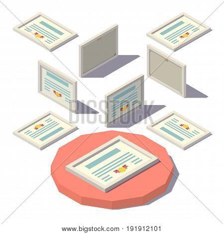 Vector isometric low poly Horizontal Diploma. Vector flat illustration