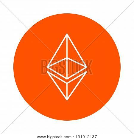 Vector modified symbol of digital crypto currency Etneryum monochrome round linear icon simple color change