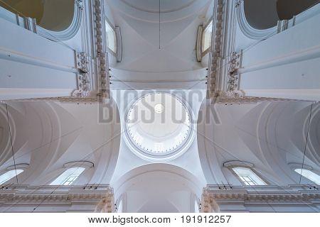 Catania Italy - December 17 2016: Interior of Benedictine Monastery of San Nicolo l'Arena Church in Catania Sicily Island