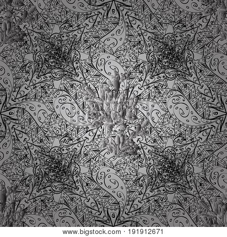 Dim elements on gray background. Sketch baroque damask. Seamless vector background. Stylish graphic pattern. Floral pattern.