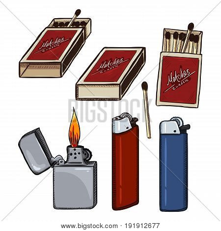 Vector Cartoon Set Of Matches, Matchboxes And Lighters.
