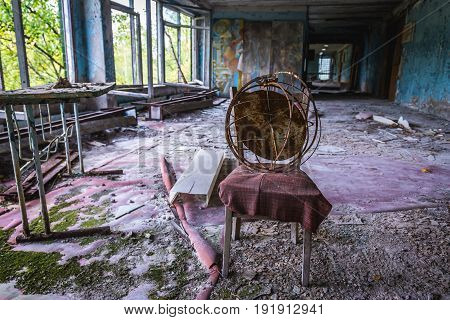 Prpyat Ukraine - September 21 2016: Abandoned school in Pripyat city in Chernobyl Exclusion Zone