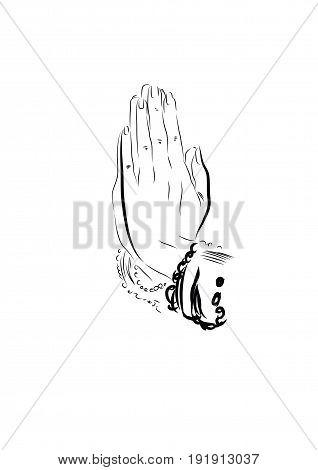 Two hand, cartoon thai welcome sawatdee, vector illustration