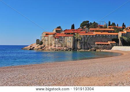 View of the beach of Sveti Stefan resort Montenegro