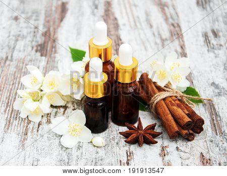 Massage Oils And Jasmine Flowers
