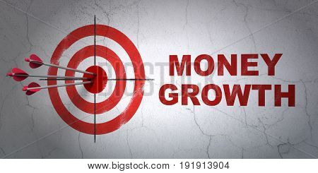 Success money concept: arrows hitting the center of target, Red Money Growth on wall background, 3D rendering