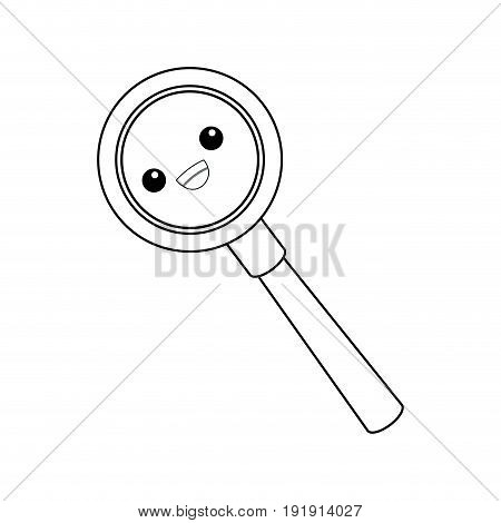 kawaii magnifier search loupe discovery find zoom vector illustration