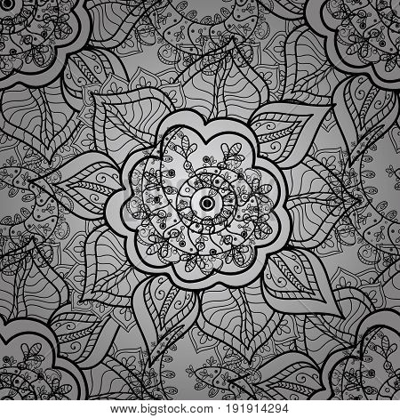 Classic vintage background. Seamless pattern on gray background with dim elements. Seamless classic vector dim pattern. Traditional orient ornament.