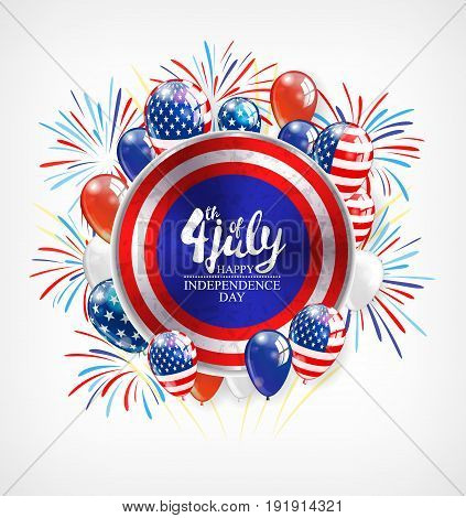 Independence day background with round banner and balloons, vector illustration