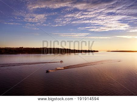 Summer landscape river and coast scenery, sunset