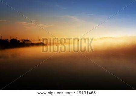 Summer Landscape, Fog On River