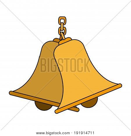 bells hanging on chain instrument sound vector illustration