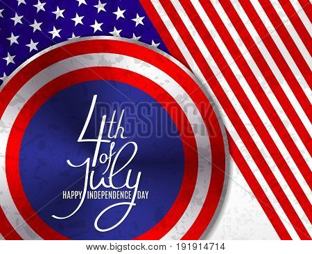 4th of July, United Stated independence day greeting. Fourth of July typographic design. Usable as greeting card, banner, background