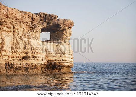 Sea Caves. Cavo Greco Cape. .cyprus. Mediterranean Sea Sunset Landscape
