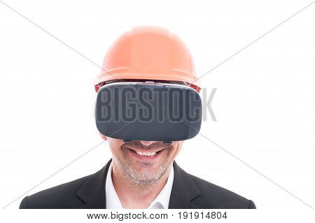 Foreman Wearing Yellow Hardhat And Vr Goggles Smiling