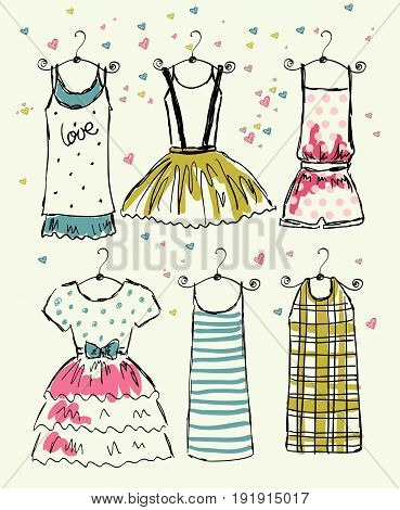 vector fashionable beautiful clothes for little girls