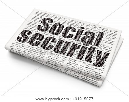 Privacy concept: Pixelated black text Social Security on Newspaper background, 3D rendering