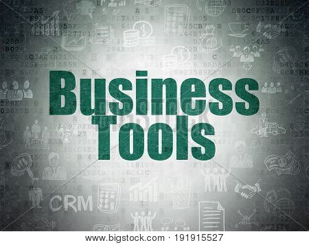 Finance concept: Painted green text Business Tools on Digital Data Paper background with   Hand Drawn Business Icons