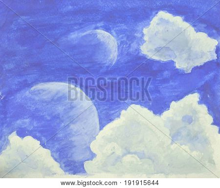 Fantastic watercolor landscape with blue sky, clouds and planets