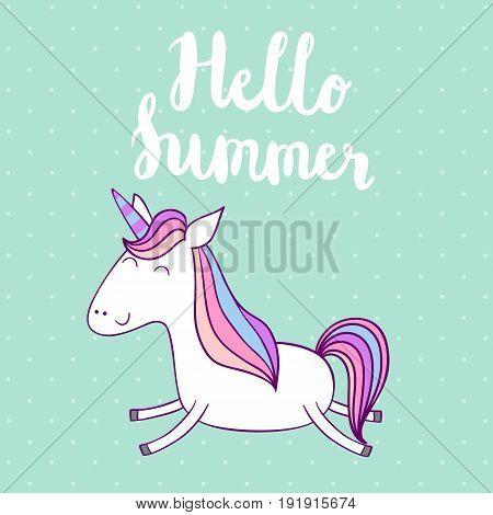 Hello summer. Magic cute unicorn, vector greeting card.